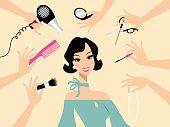 Happy dark hair woman in a beauty salon