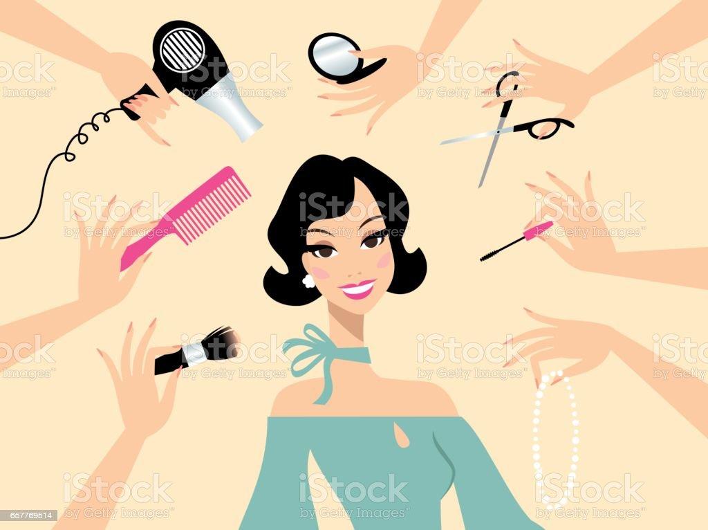 Happy dark hair woman in a beauty salon vector art illustration