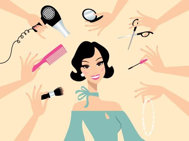 happy dark hair woman in a beauty salon - brown hair stock illustrations