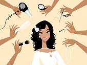 Happy dark skin bride in a beauty salon