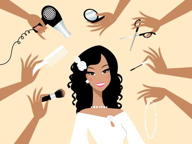 glücklich dunkle haut braut in einem schönheitssalon - rosenhochzeitskleider stock-grafiken, -clipart, -cartoons und -symbole