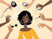 Preparation of a happy dark skin woman in a beauty salon with busy hands around her.