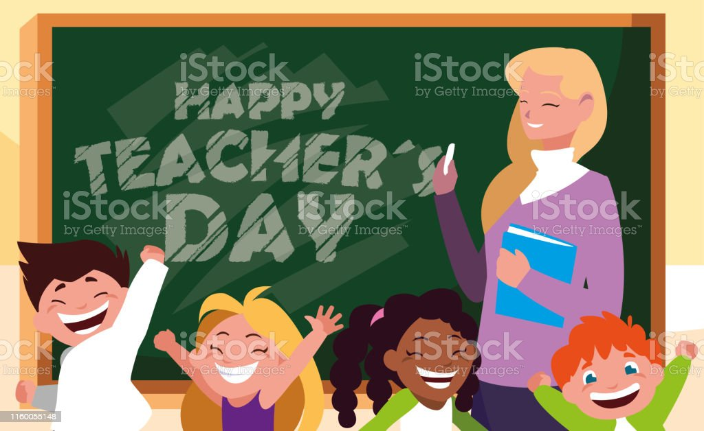 happy day card with teacher female and students vector illustration...