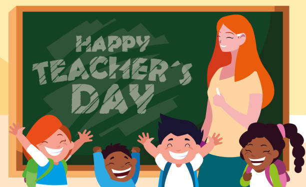 happy day card with teacher female and students - thank you teacher stock illustrations, clip art, cartoons, & icons