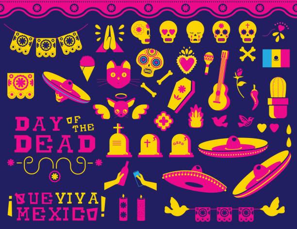 Glücklicher Tag von den Toten traditionelle mexikanische Icon-set – Vektorgrafik