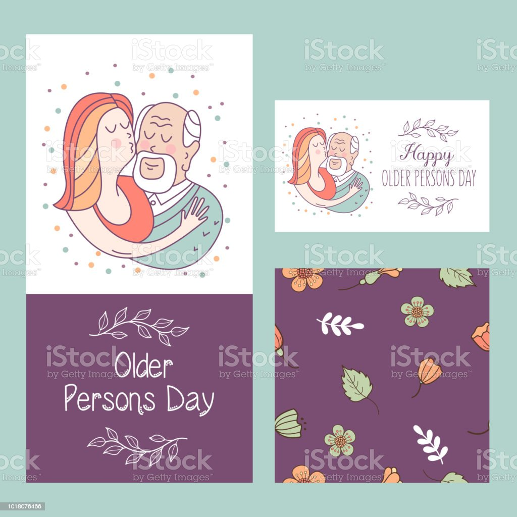 Happy Day Of The Older Person Cute Vector Illustration Of A Greeting