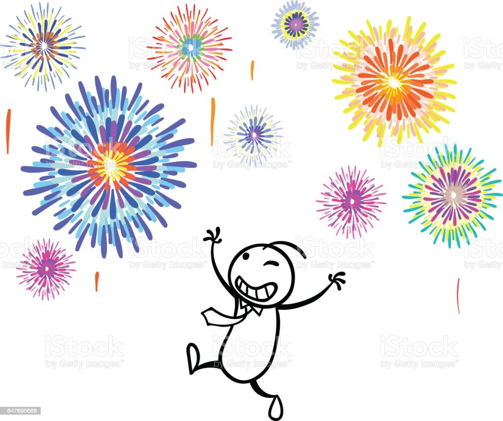 Happy day with Firework vector art illustration