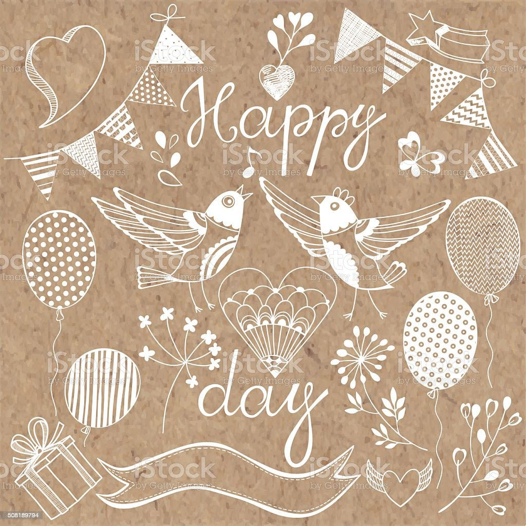 Happy day.Festive vector set. Isolated design elements. vector art illustration