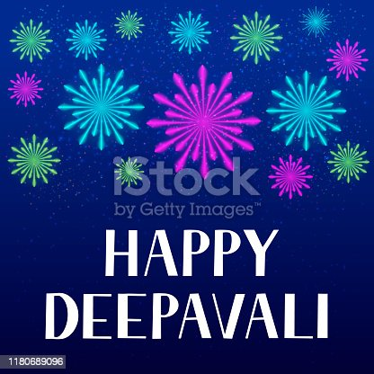 istock Happy Deepavali lettering with fireworks. Traditional Indian festival of lights Diwali typography poster. Easy to edit vector template for banner, flyer, sticker, postcard, greeting card. 1180689096