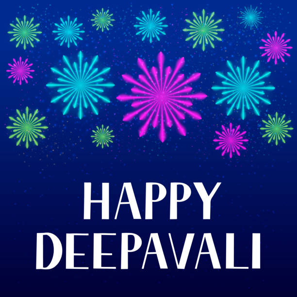 happy deepavali lettering with fireworks. traditional indian festival of lights diwali typography poster. easy to edit vector template for banner, flyer, sticker, postcard, greeting card. - salud stock illustrations