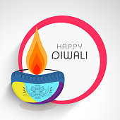 Happy Deepawali sticky design with illuminated colorful oil lit lamp.