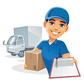 istock Happy delivery man 1211006413