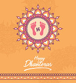 Indian Religious Festival Happy Dhanteras Background Design  Vector Illustration
