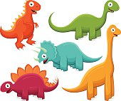 Vector illustration of five smiling, brightly-colored cartoon dinosaurs: a Tyrannosaurus Rex, a Brontosaurus, a Triceratops, a Stegosaurus and a Brachiosaurus. Illustration uses no gradients, meshes or blends of any kind, only solid color. Each dinosaur is on its own layer, easily separated from the others in a program like Illustrator, etc. Both .ai and AI8-compatible .eps formats are included, along with a high-res .jpg, and a high-res .png with transparent background.