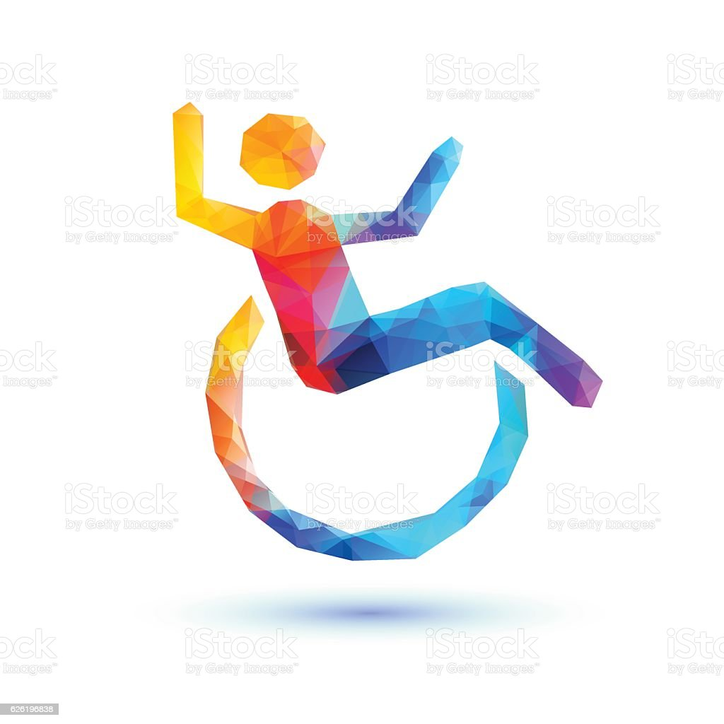 Happy disabled people. Polygonal sign - ilustración de arte vectorial