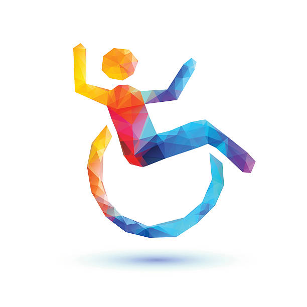 happy disabled people. polygonal sign - wheelchair sports stock illustrations, clip art, cartoons, & icons