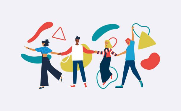 glücklicher vielfältiger freund isoliert mit abstrakten formen - freunde stock-grafiken, -clipart, -cartoons und -symbole