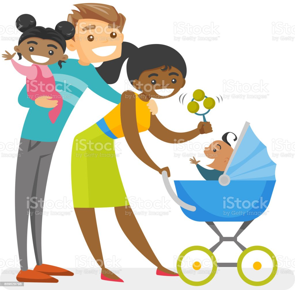 happy diverse multiracial family with mulatto kids stock vector art rh istockphoto com Black Family African American Clip Art Family