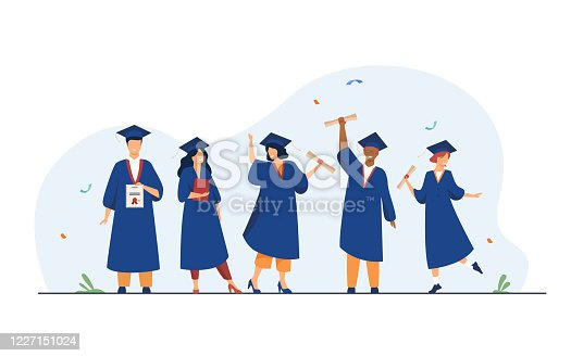 istock Happy diverse students celebrating graduation from school 1227151024