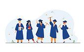 istock Happy diverse students celebrating graduation from school 1227151024