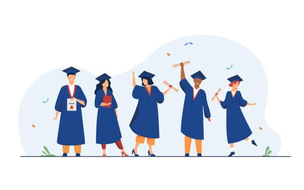 ilustraciones, imágenes clip art, dibujos animados e iconos de stock de felices y diversos estudiantes celebrando la graduación de la escuela - graduation