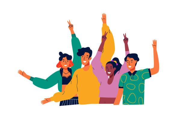 mutlu farklı tugjob insanlar grup sallayarak merhaba - happy people stock illustrations
