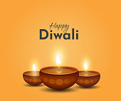 Happy Diwali card, background with burning lamps. Vector illustration. EPS10
