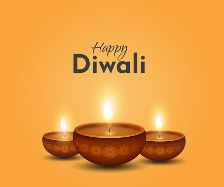 Happy Diwali card, background with burning lamps. Vector