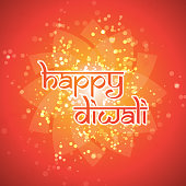 Red Happy Diwali Card with Candle - Template with Stylized Label and Abstract Bright Background, Creative Design in Freely Scalable and Editable Vector Format
