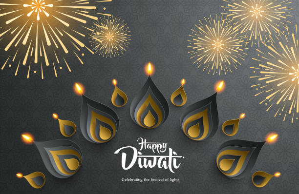 happy diwali. celebrating the festival of lights. - diwali stock illustrations