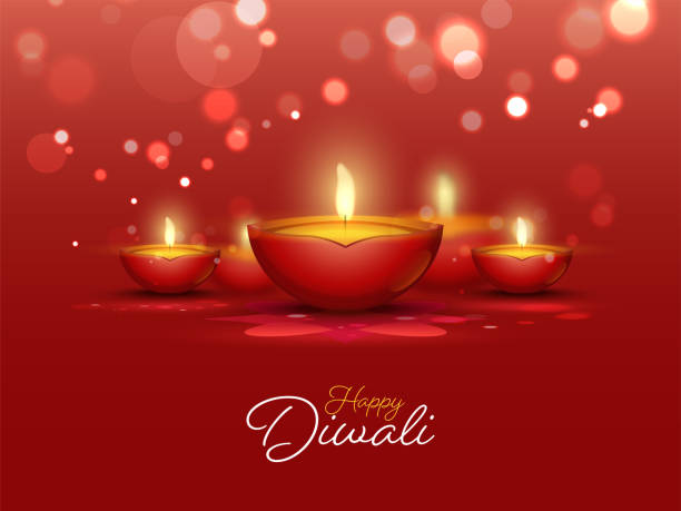 Happy Diwali Celebration Concept with Lit Oil Lamps (Diya) Decorated on Red Bokeh Background. vector art illustration