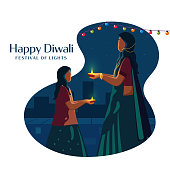 Happy Diwali Celebration Poster Design with Cartoon Woman and Her Daughter Holding Lit Oil Lamps (Diya) on Abstract Background.