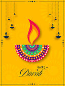 Happy Diwali Celebration Template Design with Creative Lit Oil Lamps (Diya) Decorated on Yellow Background.