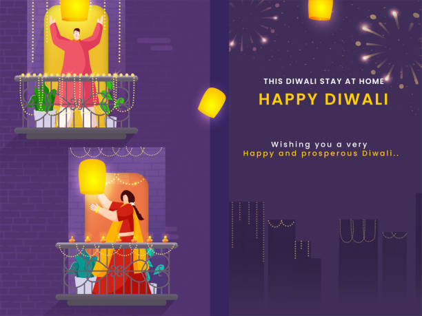 Happy Diwali Celebration Urban Background with Cartoon Man and Woman Holding Sky Lanterns on Their Balcony. Stay At Home, Avoid Coronavirus. vector art illustration