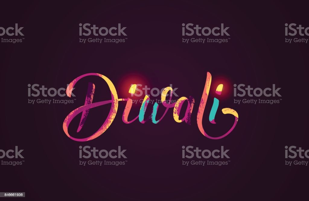 Happy Diwali colorful calligraphic lettering poster. vector art illustration