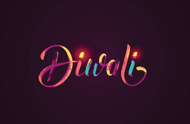happy diwali colorful calligraphic lettering poster. - diwali stock illustrations, clip art, cartoons, & icons