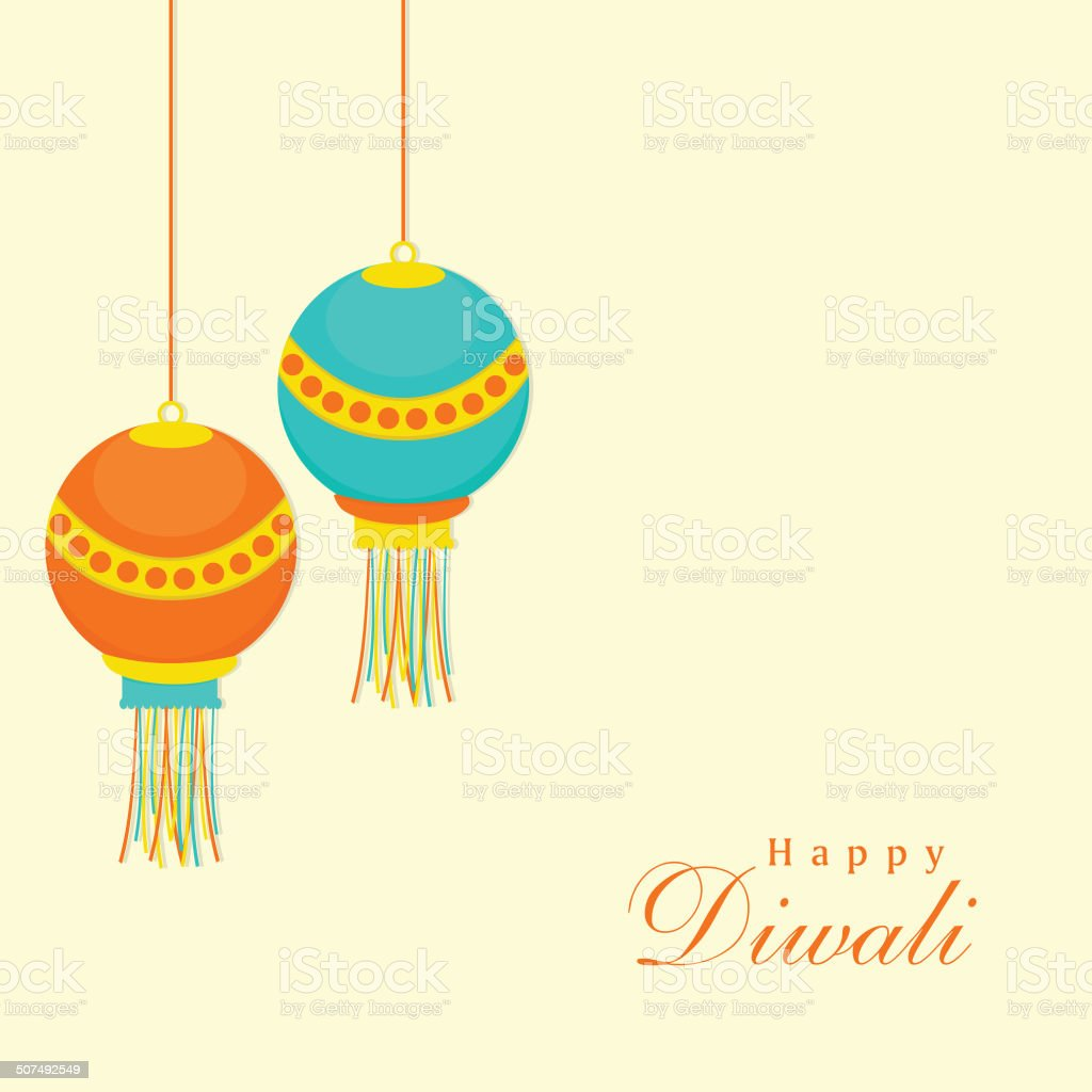 Happy Diwali Concept With Colorful Hanging Lamps Royalty Free