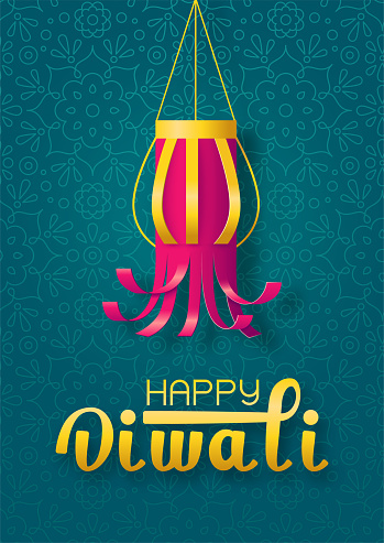 Happy diwali concept with handmade paper lantern on green background with mandala
