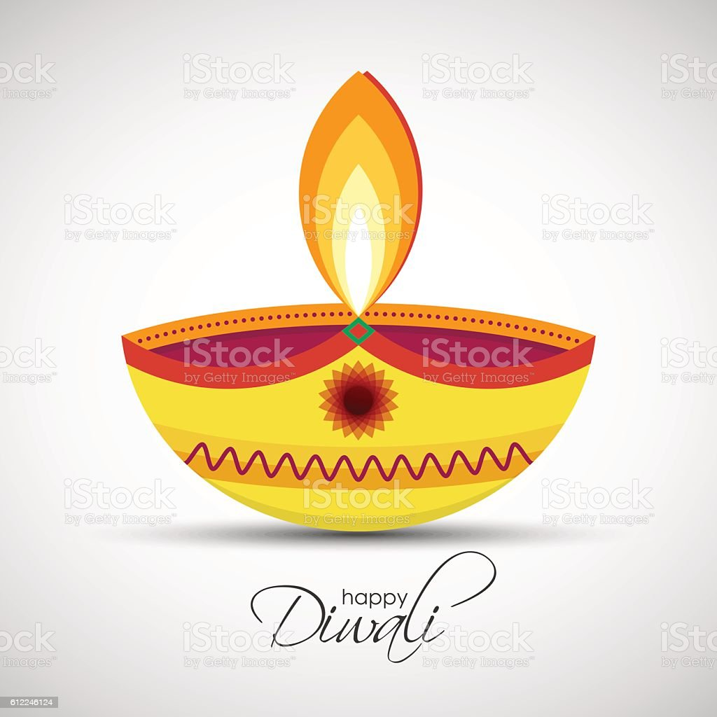 Happy Diwali Diya Oil Lamp Royalty Free Stock Vector Art