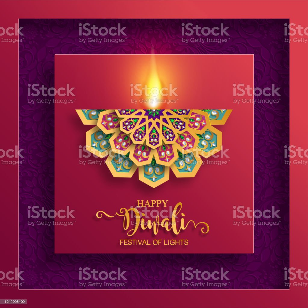 Happy Diwali Festival Card With Gold Diya Patterned And Crystals On