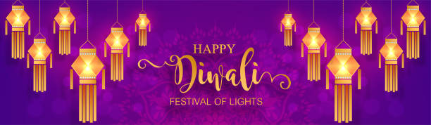 happy diwali festival card with gold diya patterned and crystals on paper color background. - diwali stock illustrations