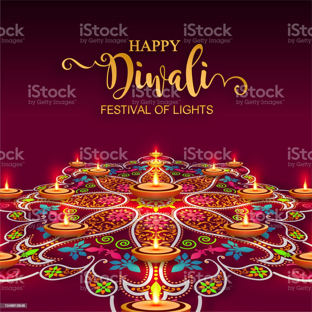 Happy Diwali festival card with gold diya patterned and crystals on paper color Background. vector art illustration