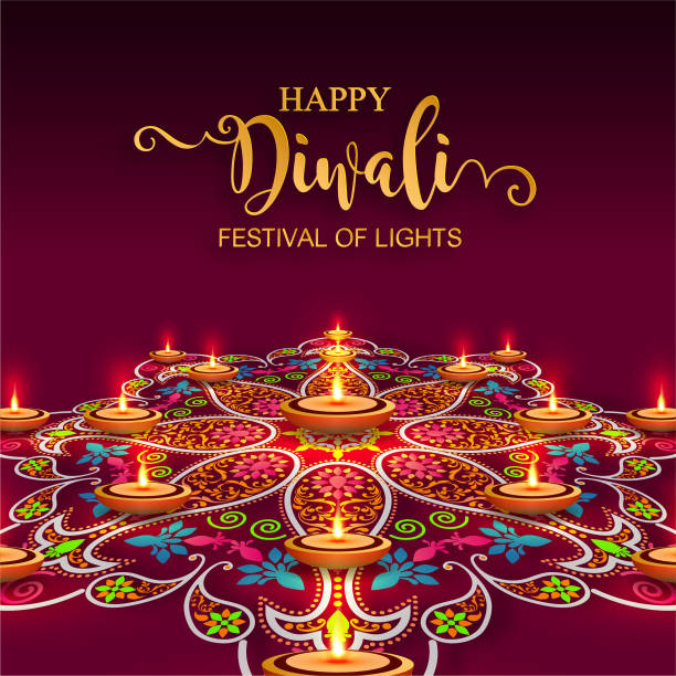 happy diwali festival card with gold diya patterned and crystals on paper color background. - diwali stock illustrations, clip art, cartoons, & icons