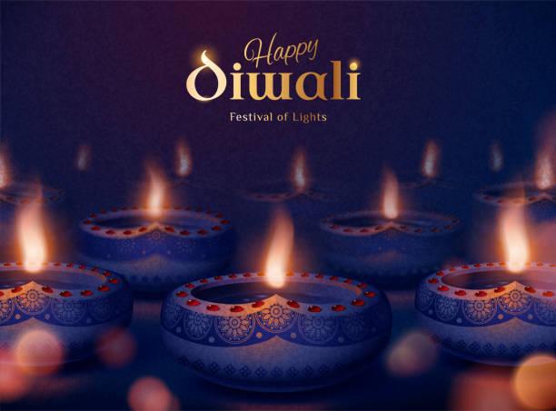 Happy diwali festival of lights Happy diwali festival of lights with beautiful diya oil lamps on bokeh night backgound diwali stock illustrations