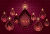 Happy Diwali festival with Diwali oil lamp, DIwali holiday Bacground with diya lamps