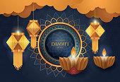 Happy Diwali festival with Diwali oil lamp, Diwali holiday Blue Background with diya lamps and rangoli, Symbol of Diwali celebration greeting card, Gold Lanterns, Hinduism art Style, Paper art vector