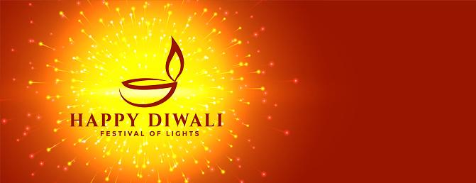 happy diwali fireworks and creative diya banner design