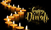 Happy Diwali festival of lights holiday greeting card template of gold candle light flame on golden premium background. Vector traditional Diwali text lettering ornament for Indian Hindu Deepavali