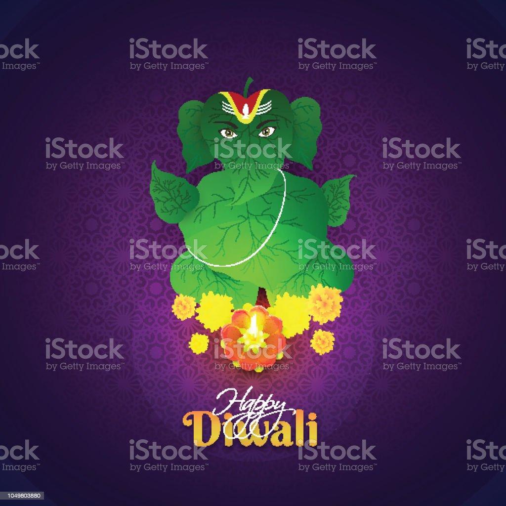 Happy Diwali Greeting Card Design With Hindu Mythological Lord