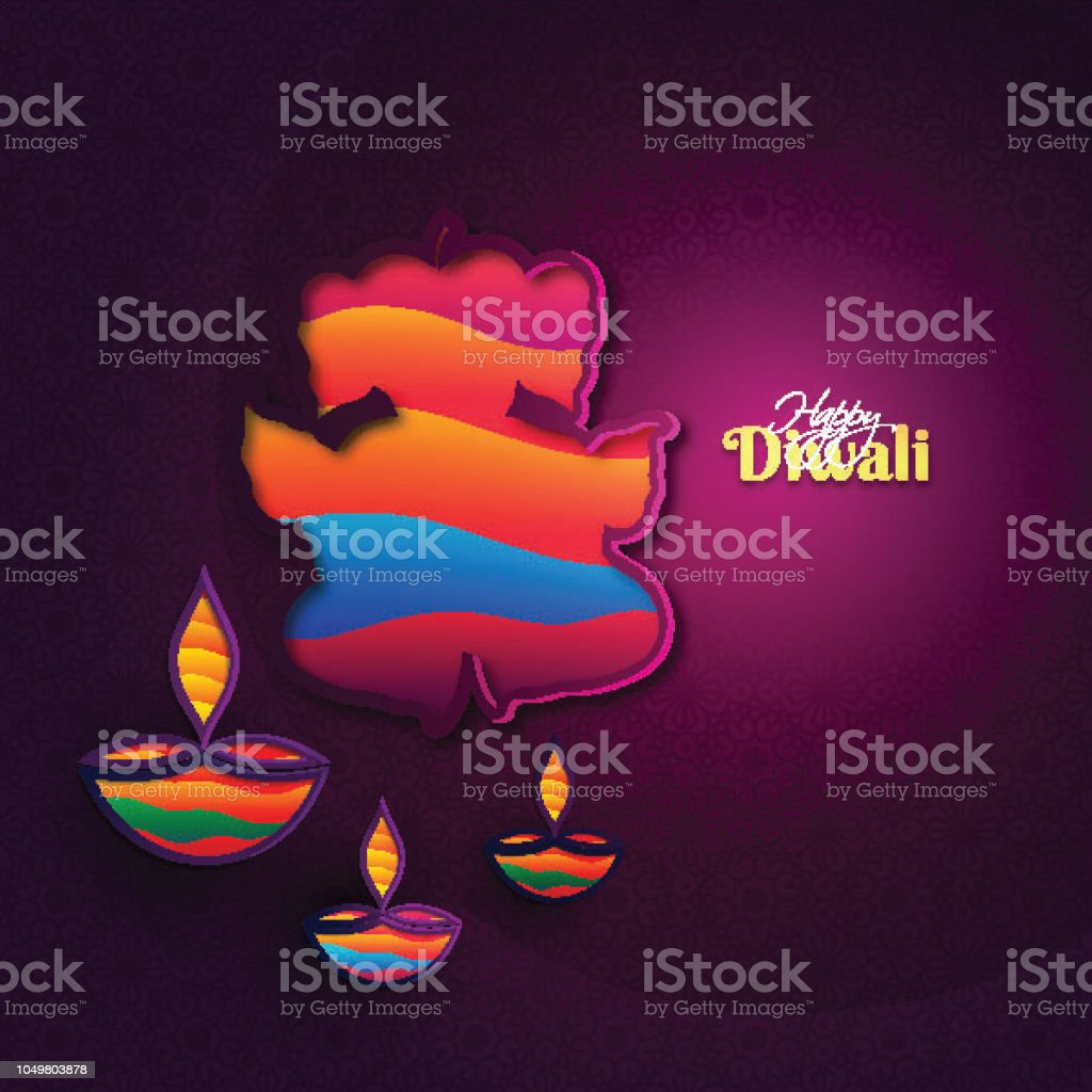Happy Diwali Greeting Card Design With Paper Cutout Style Lord